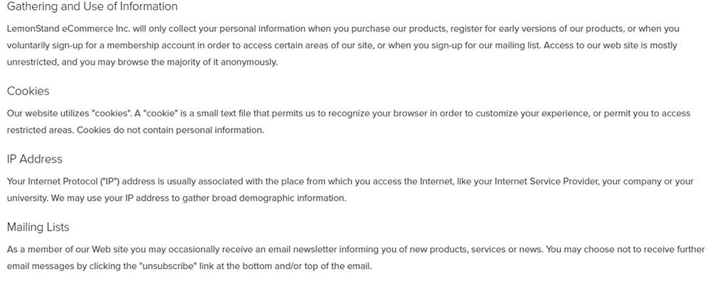 Screenshot of LemonStand Privacy Policy
