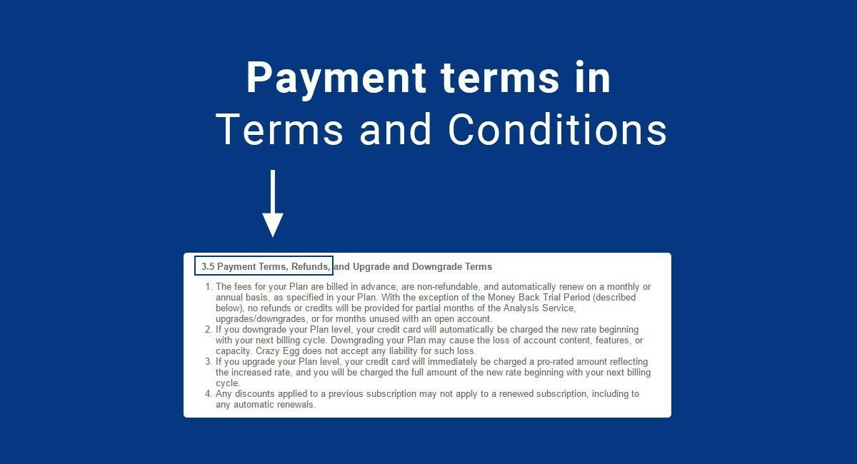 Payment terms in terms conditions termsfeed for App terms and conditions template