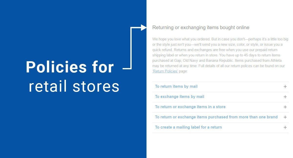 Policies for retail stores