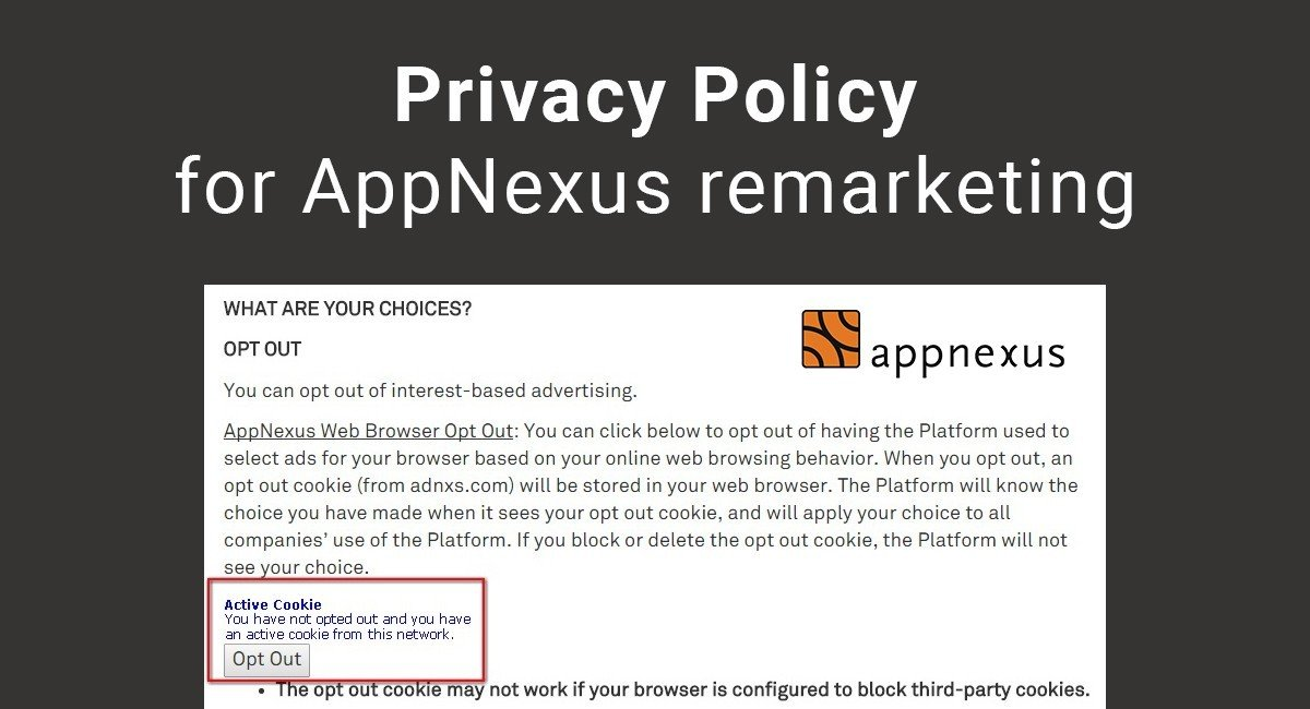 Image for: Privacy Policy for AppNexus Remarketing
