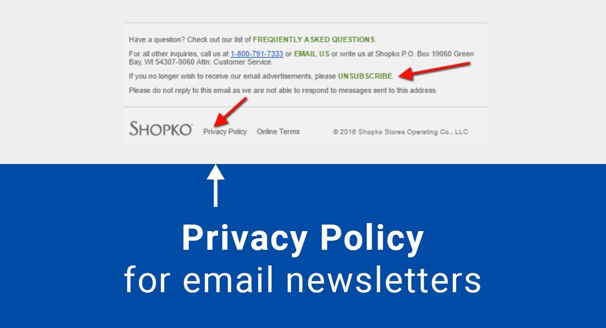 Privacy policy for email newsletters termsfeed for Customer privacy policy template