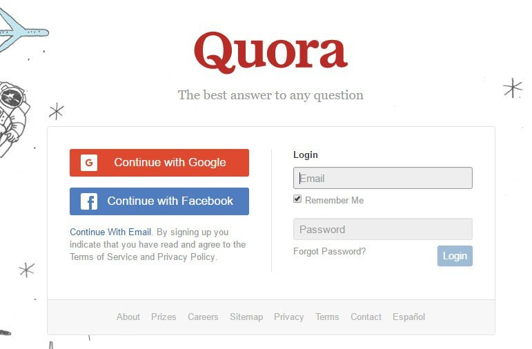 Quora Create Account Form: By clicking, you agree to