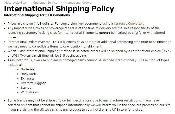Screenshot of Revzilla International Shipping Policy
