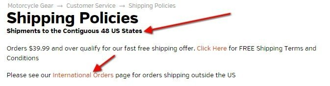 Revzilla Shipping Policies: Link to international orders