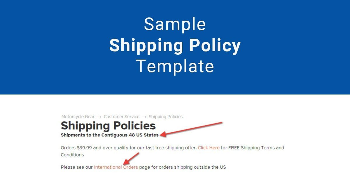 template for sending insurance to vendor  Sample Shipping Policy Template - TermsFeed