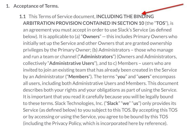 Slack Terms of Service: Highlight arbitration clause