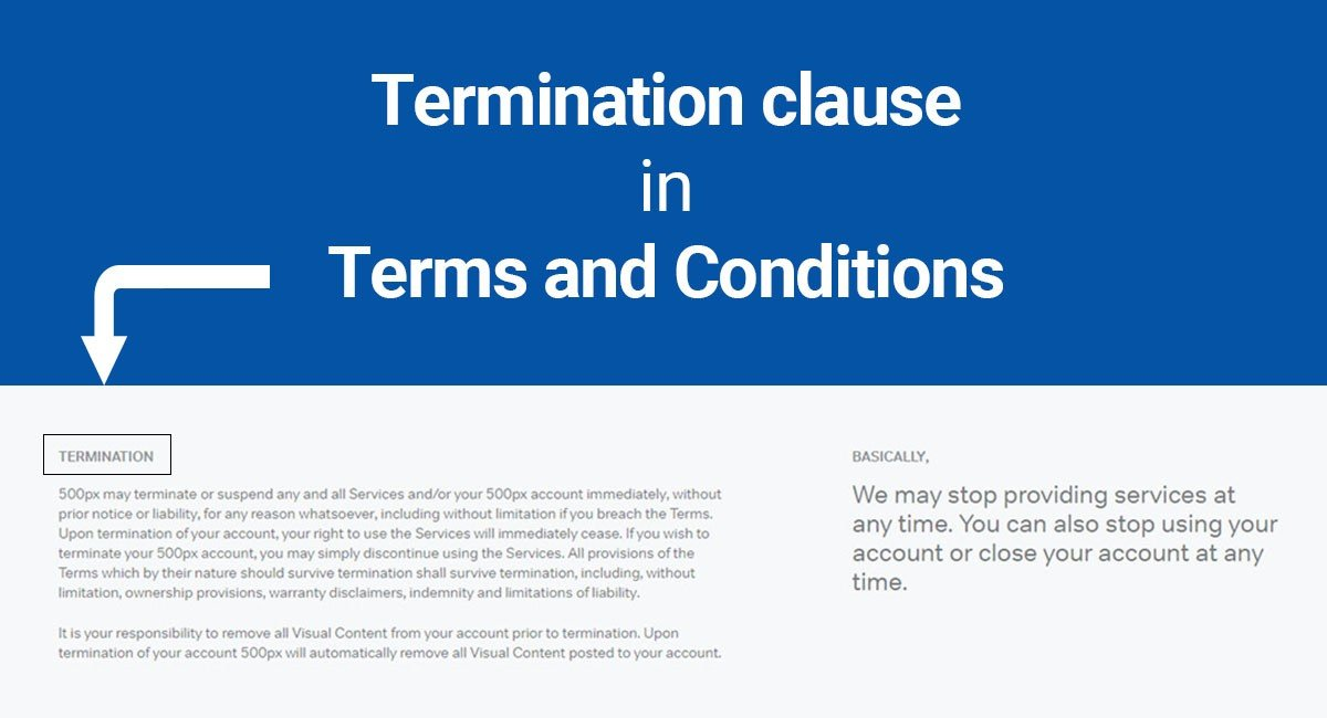Termination clause in Terms and Conditions