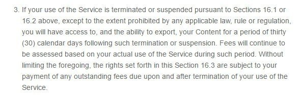 Additional points for Termination clause in ToutApp Terms of Service