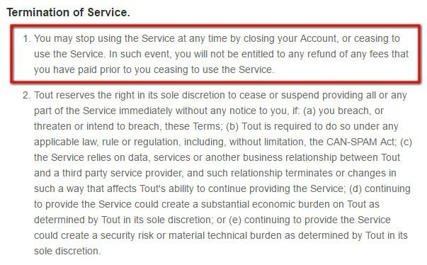 Termination clause in ToutApp Terms of Service
