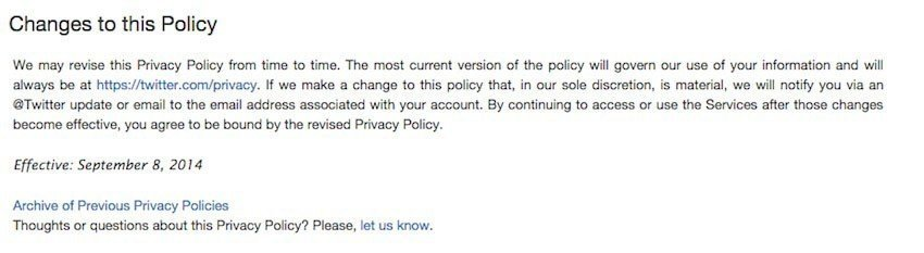 Twitter Privacy Policy page: Changes to this policy