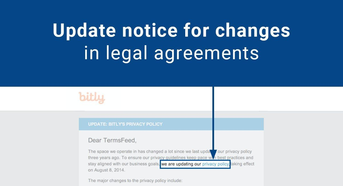 Update notice for changes in legal agreements termsfeed for Customer privacy policy template