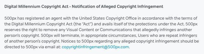 500px Terms of Service with separate email in DMCA clause
