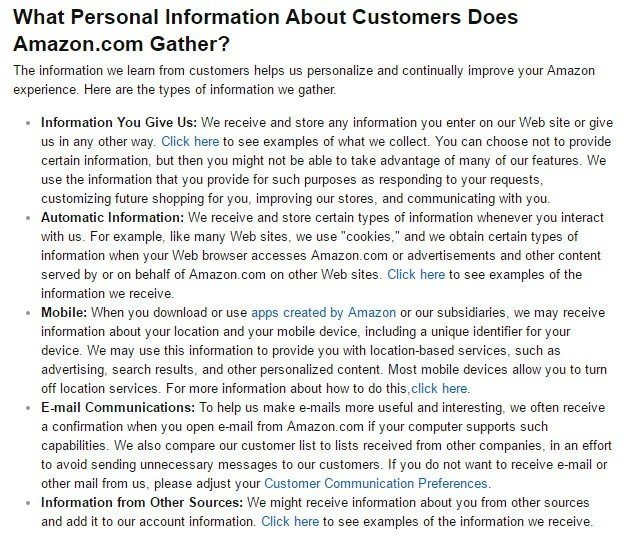 A clear description of information collected from Amazon
