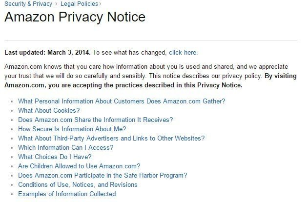 The start of the Amazon Privacy Notice FAQ