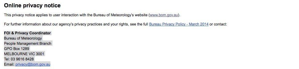 Bureau of Meteorology Privacy Notice: Contact Information