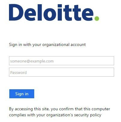 Deloitte Sign In form