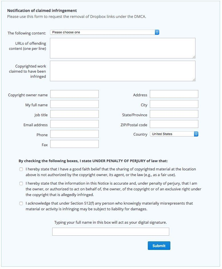 Dropbox DMCA Policy form