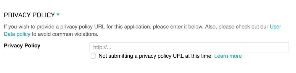 Google Developer Console: Privacy Policy URL