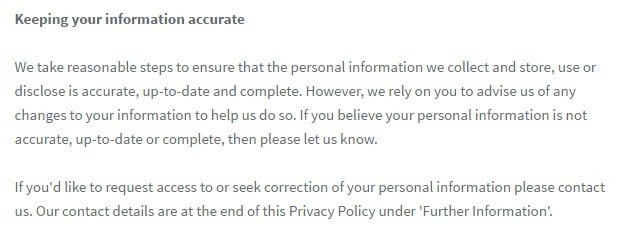 IAG Privacy Policy: Keeping information accurate