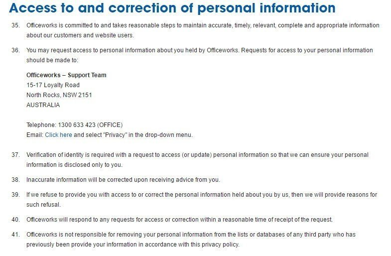 Officeworks Privacy Policy: Access and Correction to personal information