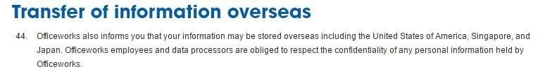 Officeworks Privacy Policy: Transfer of information overseas