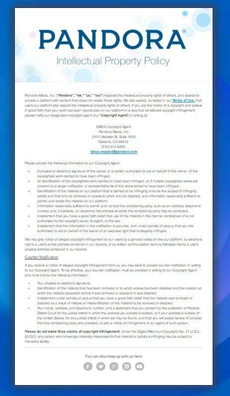 Pandora DMCA Policy