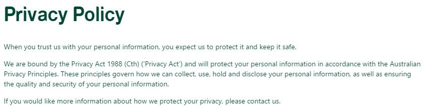 St George Bank Privacy Policy bound to Privacy Act of 1988
