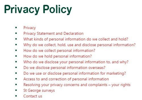 St George Bank Privacy Policy FAQ Table of Contents
