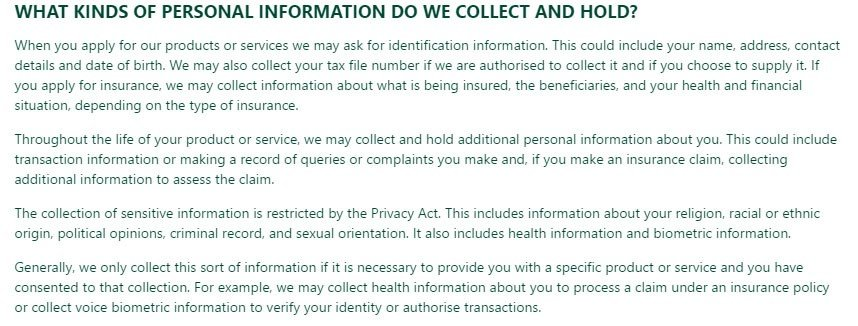 St George Bank Privacy Policy: What kinds of personal information