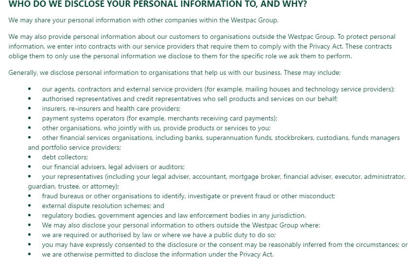 St George Bank Privacy Policy: Who do we disclose information to