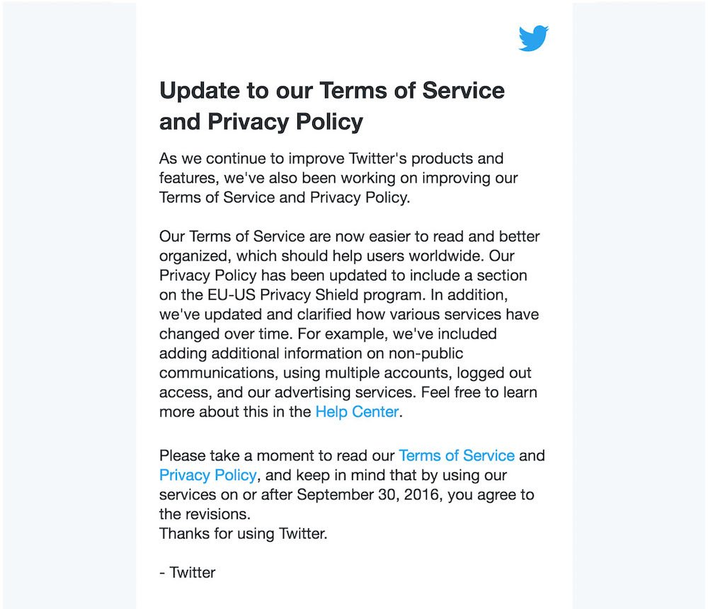 Twitter Email Notice in Sep 2016 on Terms Service/Privacy Policy updates