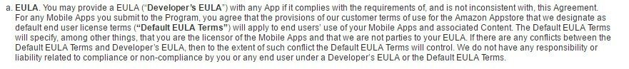 Amazon Appstore Distribution Terms of Use: Create EULA with no conflict provision