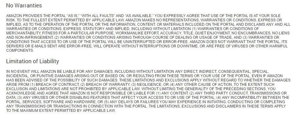 No warranties and Limitation of Liability clauses in Amazon Appstore Distribution Terms of Use