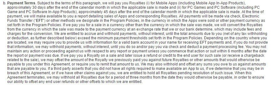 Payment terms clause in Amazon Appstore Distribution terms of Use