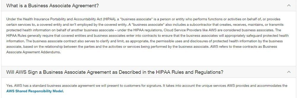 FAQ on Business Associate Agreement from Amazon AWS