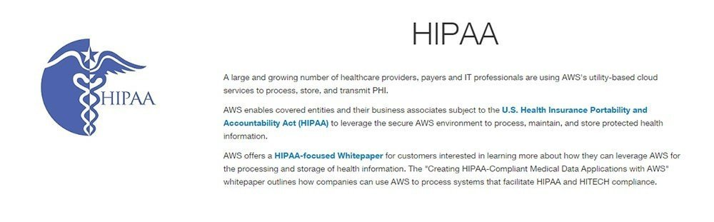 Reference to HIPAA from Amazon AWS