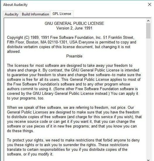 Audacity GNU License Screenshot