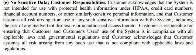 SaaS Agreement TermsFeed - Non responsibility clause