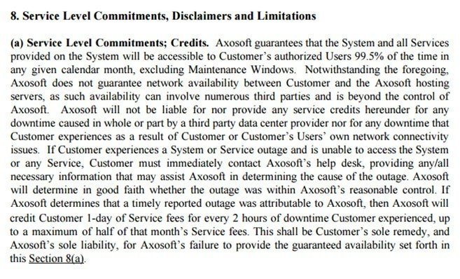 Axosoft Service Level Commitments In SaaS Agreement
