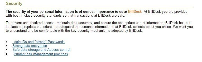 Security practices in BillDesk Privacy Policy