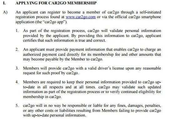 Apply for membership in car2go Terms and Conditions