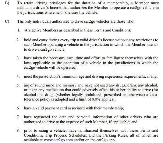 Driving Privileges in Car2go Membership Terms and Conditions