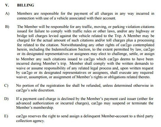 Billing in Car2go Terms and Conditions