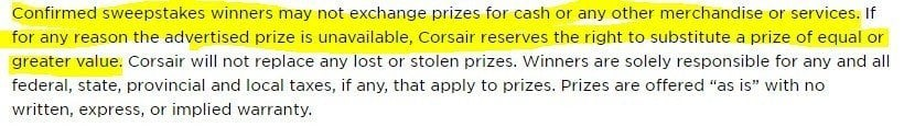 Corsair: No substitution in sweepstakes