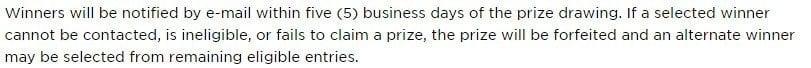 Corsair: Notification of winner in sweepstakes