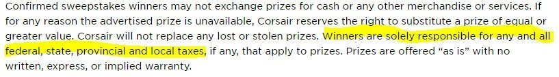 Corsair: Tax responsibility of sweepstakes