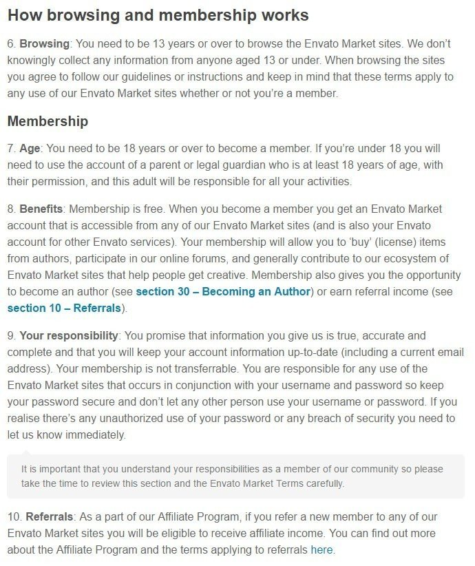 Age limit of membership in Envato Market Terms