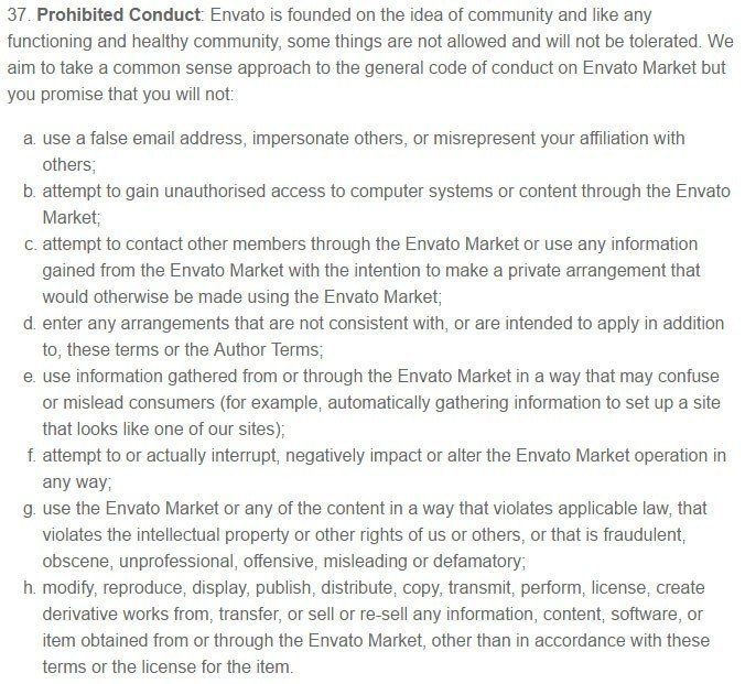 Prohibited Conduct in Envato Market Terms