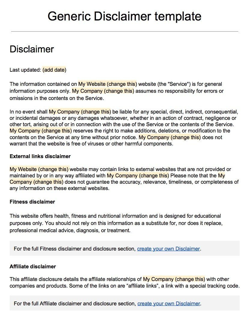 Screenshot of the Generic Disclaimer Template
