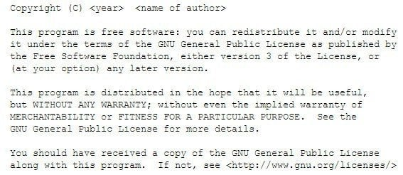 Sample screenshot of GNU License